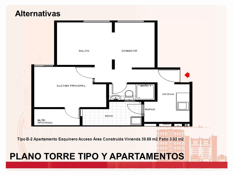 Tipo B-2 Apartamento Esquinero Acceso Área Construida Vivienda 39.88 m2 Patio 3.92 m2 PLANO TORRE TIPO Y APARTAMENTOS Alternativas