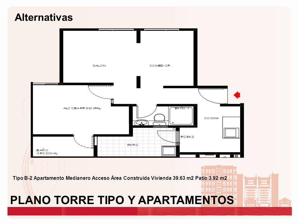Tipo B-2 Apartamento Medianero Acceso Área Construida Vivienda 39.63 m2 Patio 3.92 m2 PLANO TORRE TIPO Y APARTAMENTOS