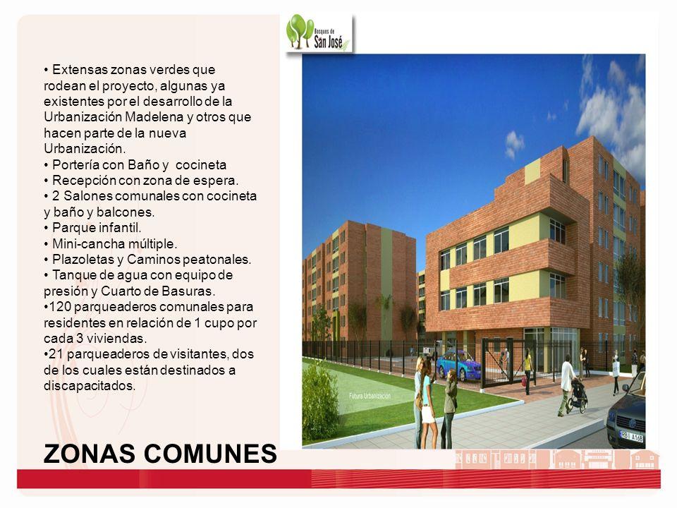 Extensas zonas verdes que rodean el proyecto, algunas ya existentes por el desarrollo de la Urbanización Madelena y otros que hacen parte de la nueva