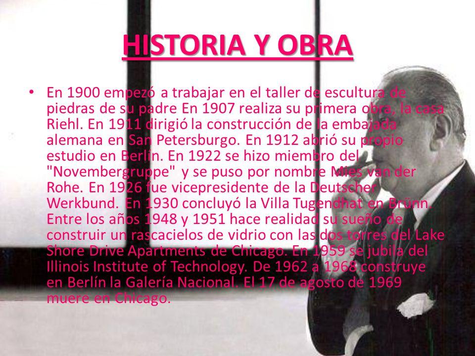 HISTORIA Y OBRA En 1900 empezó a trabajar en el taller de escultura de piedras de su padre En 1907 realiza su primera obra, la casa Riehl. En 1911 dir