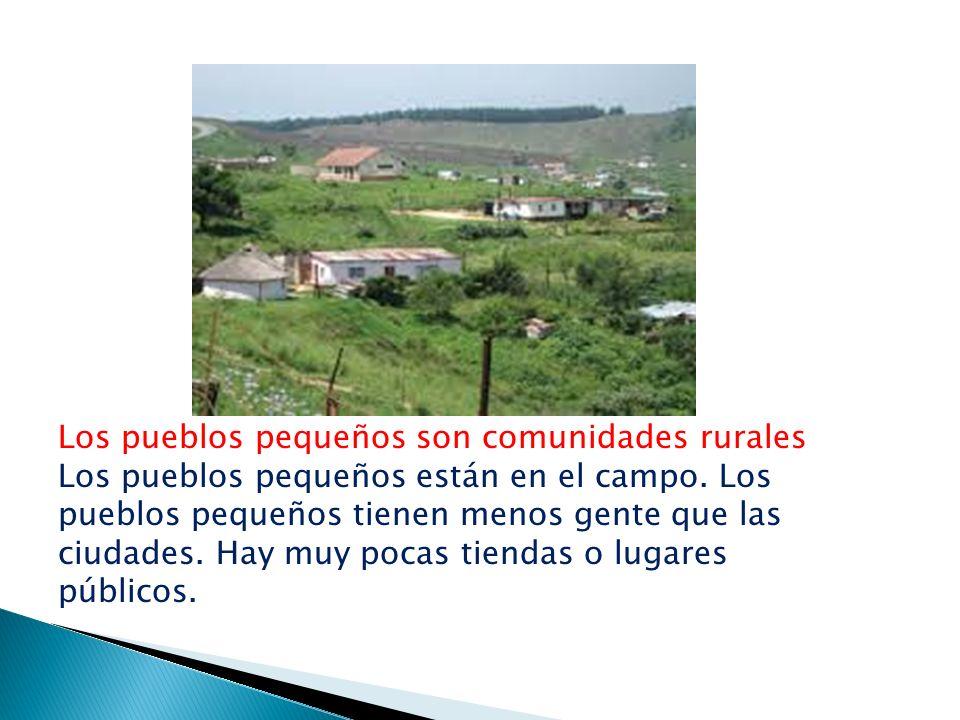 Los pueblos pequeños son comunidades rurales Los pueblos pequeños están en el campo. Los pueblos pequeños tienen menos gente que las ciudades. Hay muy