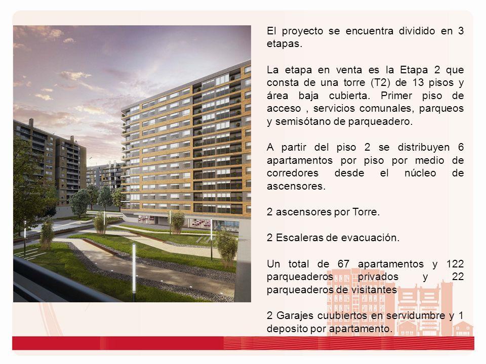 El proyecto se encuentra dividido en 3 etapas. La etapa en venta es la Etapa 2 que consta de una torre (T2) de 13 pisos y área baja cubierta. Primer p
