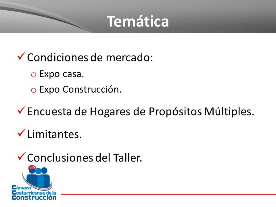 Temática Condiciones de mercado: o Expo casa. o Expo Construcción. Encuesta de Hogares de Propósitos Múltiples. Limitantes. Conclusiones del Taller.