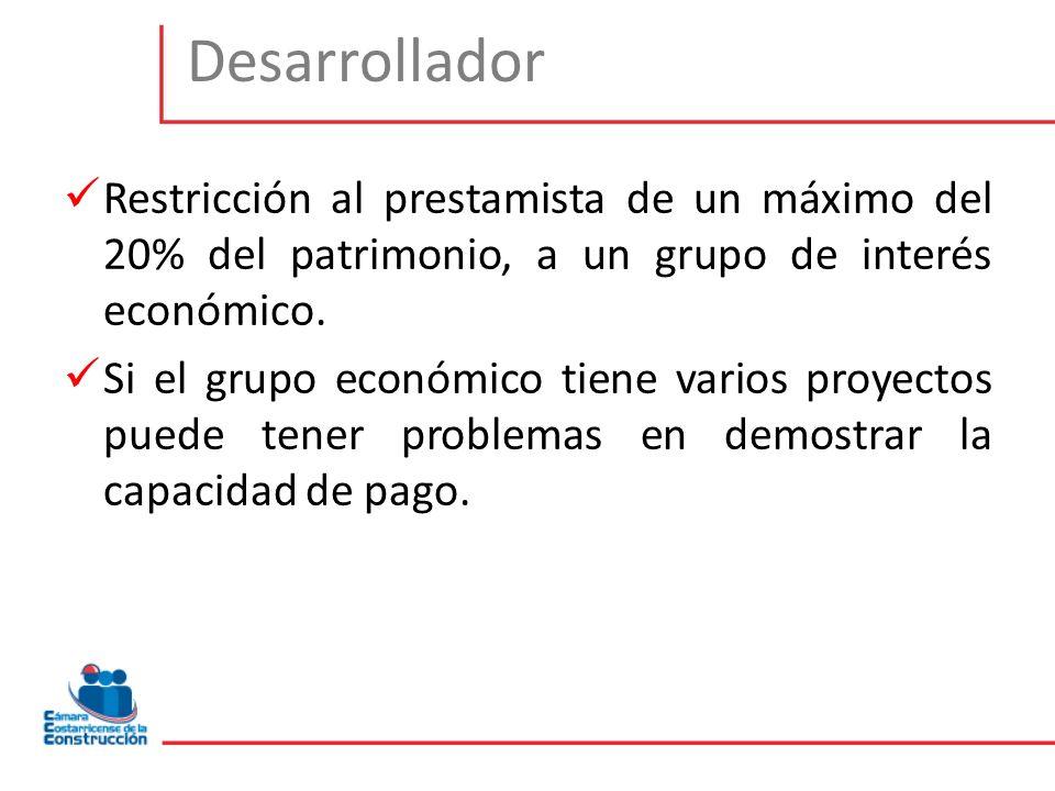 Restricción al prestamista de un máximo del 20% del patrimonio, a un grupo de interés económico. Si el grupo económico tiene varios proyectos puede te