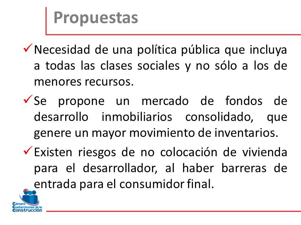 Propuestas Necesidad de una política pública que incluya a todas las clases sociales y no sólo a los de menores recursos. Se propone un mercado de fon