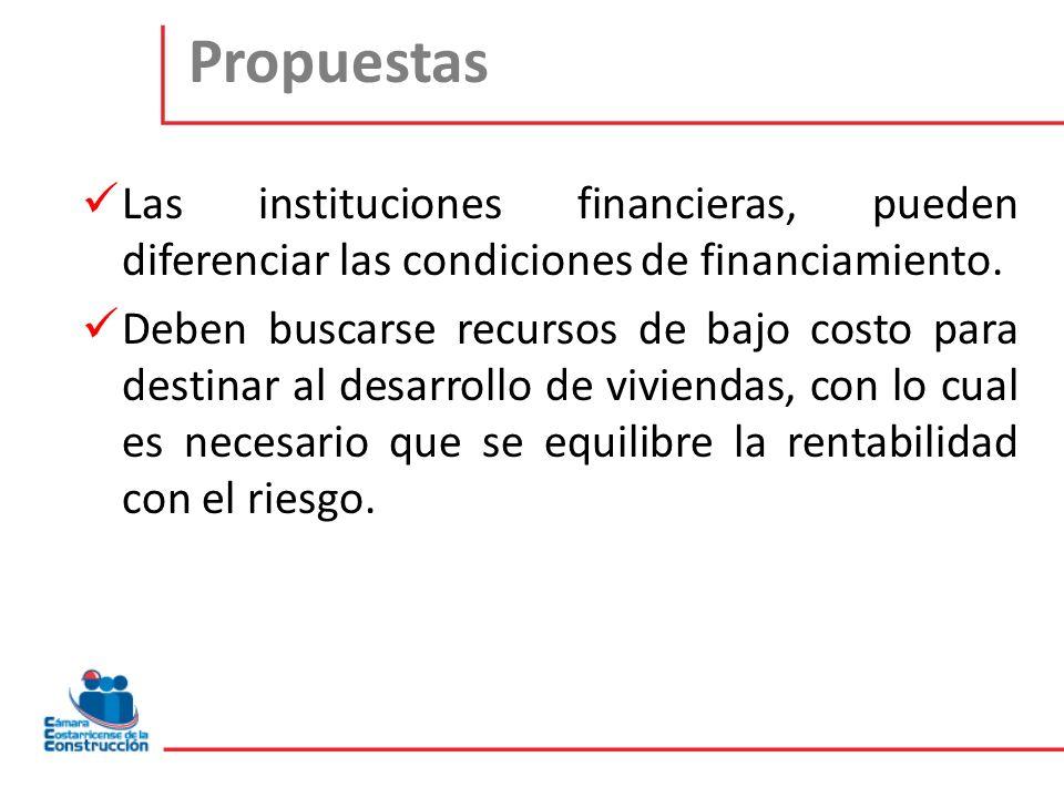 Propuestas Las instituciones financieras, pueden diferenciar las condiciones de financiamiento. Deben buscarse recursos de bajo costo para destinar al