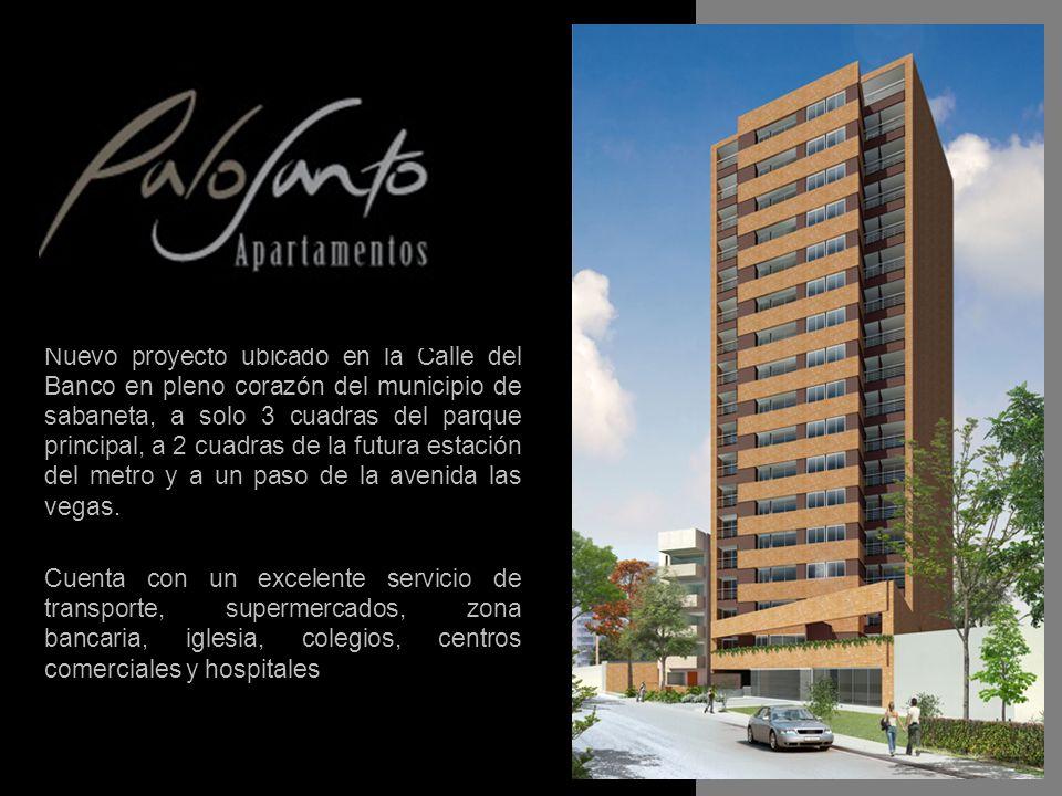 Nuevo proyecto ubicado en la Calle del Banco en pleno corazón del municipio de sabaneta, a solo 3 cuadras del parque principal, a 2 cuadras de la futura estación del metro y a un paso de la avenida las vegas.