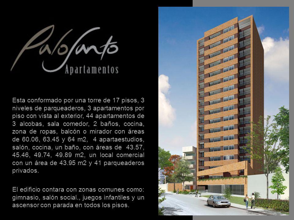 Esta conformado por una torre de 17 pisos, 3 niveles de parqueaderos, 3 apartamentos por piso con vista al exterior, 44 apartamentos de 3 alcobas, sala comedor, 2 baños, cocina, zona de ropas, balcón o mirador con áreas de 60.06, 63.45 y 64 m2, 4 apartaestudios, salón, cocina, un baño, con áreas de 43.57, 45.46, 49.74, 49.89 m2, un local comercial con un área de 43.95 m2 y 41 parqueaderos privados.