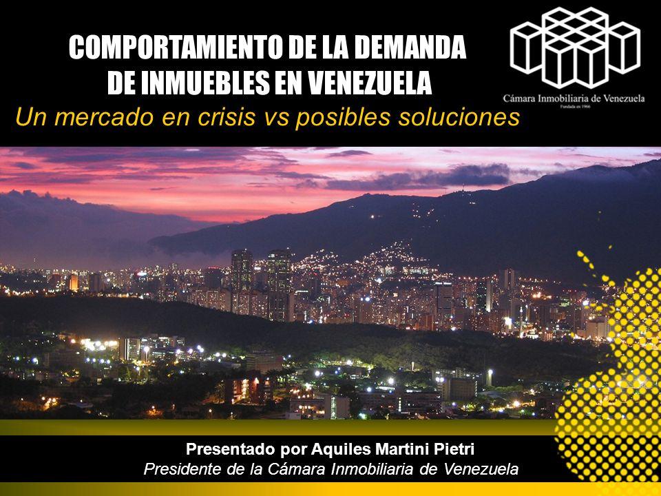 Presentado por Aquiles Martini Pietri Presidente de la Cámara Inmobiliaria de Venezuela COMPORTAMIENTO DE LA DEMANDA DE INMUEBLES EN VENEZUELA Un merc