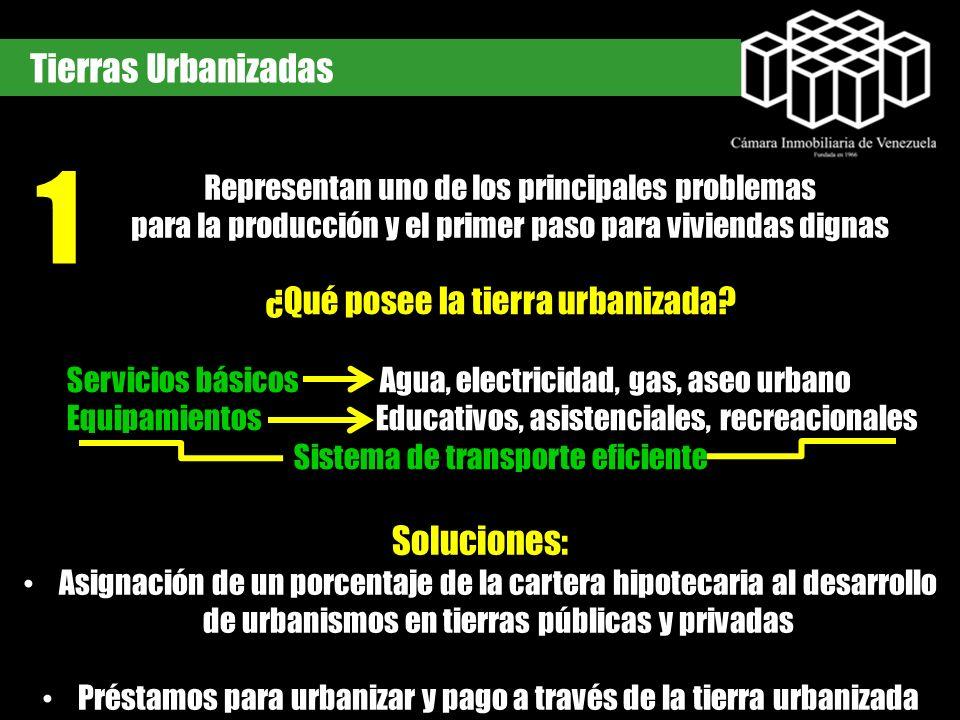 Tierras Urbanizadas Representan uno de los principales problemas para la producción y el primer paso para viviendas dignas ¿Qué posee la tierra urbani