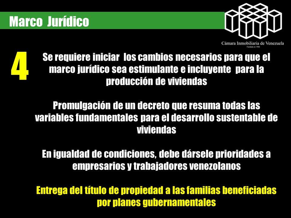 4 Marco Jurídico Se requiere iniciar los cambios necesarios para que el marco jurídico sea estimulante e incluyente para la producción de viviendas Pr