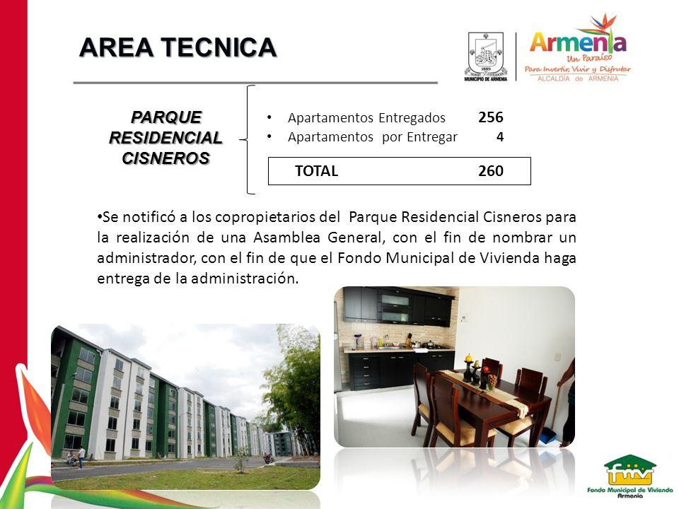 PARQUE RESIDENCIAL CISNEROS Apartamentos Entregados 256 Apartamentos por Entregar 4 TOTAL 260 Se notificó a los copropietarios del Parque Residencial