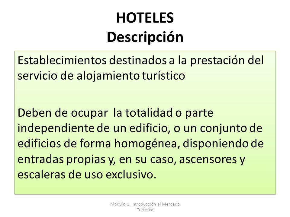 HOTELES Descripción Establecimientos destinados a la prestación del servicio de alojamiento turístico Deben de ocupar la totalidad o parte independien