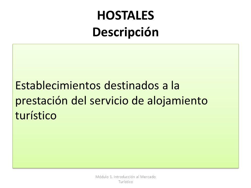 HOSTALES Descripción Establecimientos destinados a la prestación del servicio de alojamiento turístico Módulo 1. Introducción al Mercado Turístico