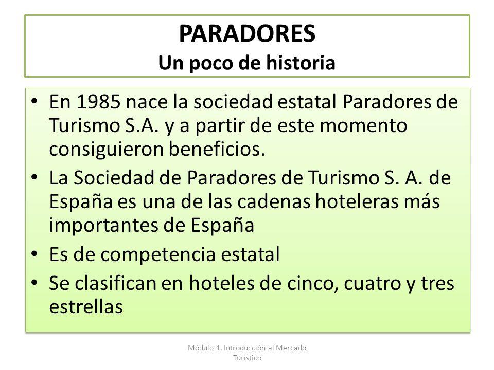 PARADORES Un poco de historia En 1985 nace la sociedad estatal Paradores de Turismo S.A. y a partir de este momento consiguieron beneficios. La Socied