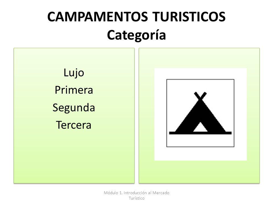 CAMPAMENTOS TURISTICOS Categoría Lujo Primera Segunda Tercera Lujo Primera Segunda Tercera Módulo 1. Introducción al Mercado Turístico