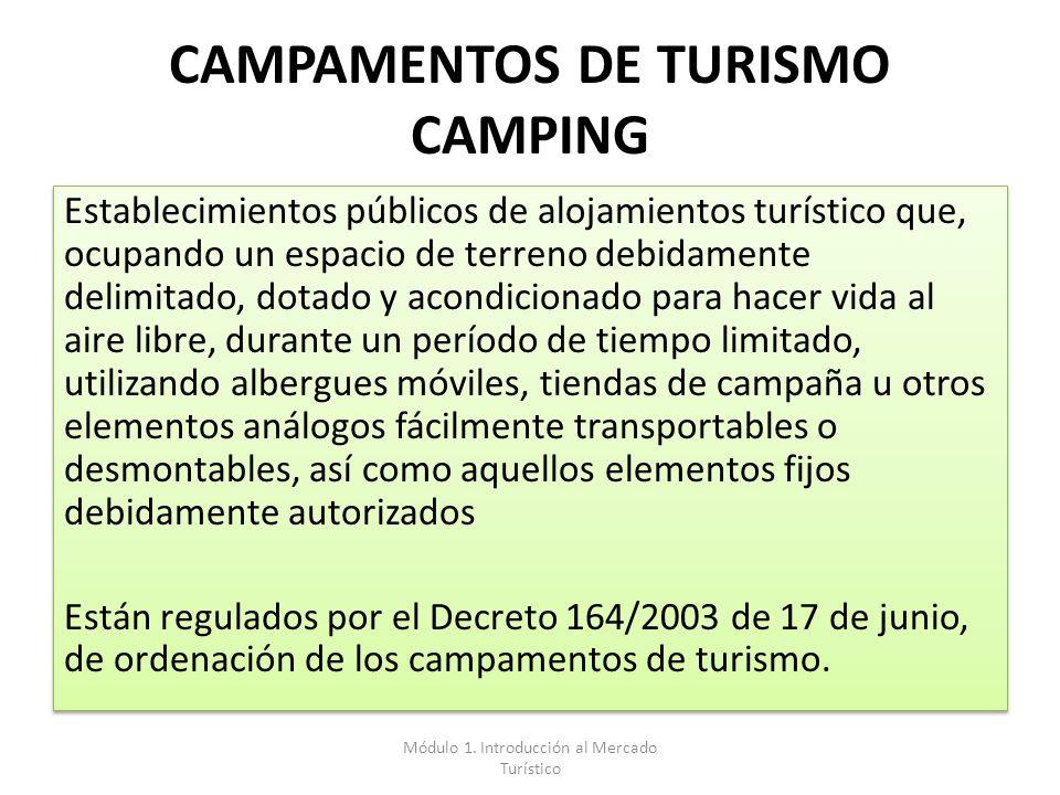 CAMPAMENTOS DE TURISMO CAMPING Establecimientos públicos de alojamientos turístico que, ocupando un espacio de terreno debidamente delimitado, dotado
