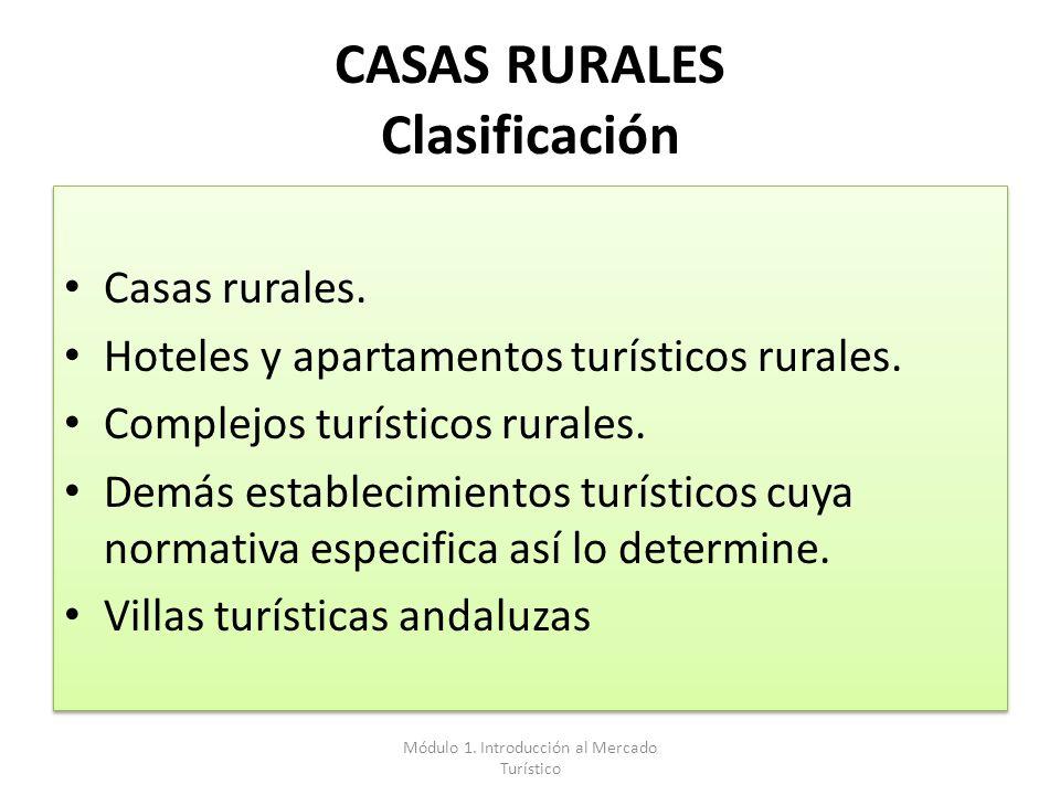 CASAS RURALES Clasificación Casas rurales. Hoteles y apartamentos turísticos rurales. Complejos turísticos rurales. Demás establecimientos turísticos