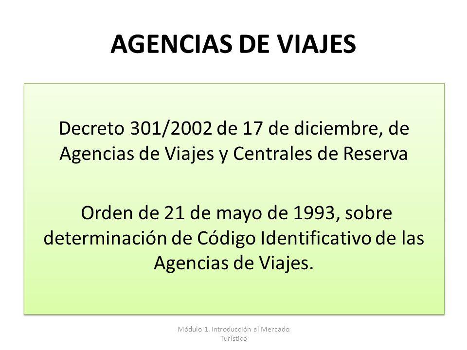 AGENCIAS DE VIAJES Decreto 301/2002 de 17 de diciembre, de Agencias de Viajes y Centrales de Reserva Orden de 21 de mayo de 1993, sobre determinación