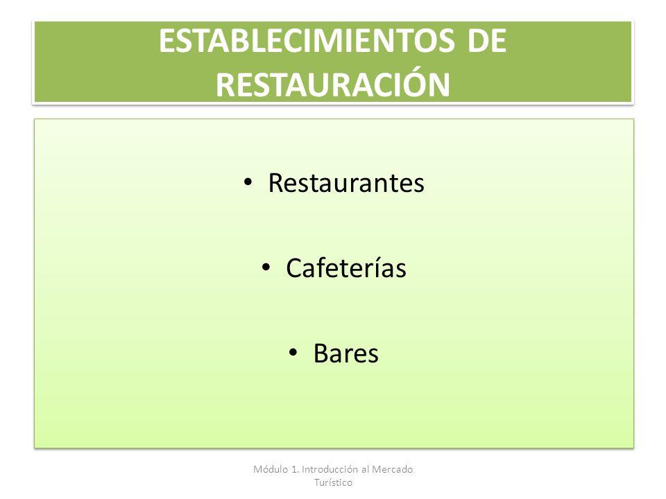 ESTABLECIMIENTOS DE RESTAURACIÓN Restaurantes Cafeterías Bares Restaurantes Cafeterías Bares Módulo 1. Introducción al Mercado Turístico
