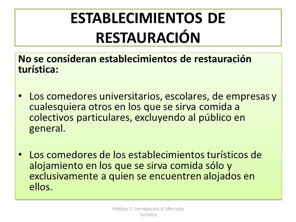 ESTABLECIMIENTOS DE RESTAURACIÓN No se consideran establecimientos de restauración turística: Los comedores universitarios, escolares, de empresas y c