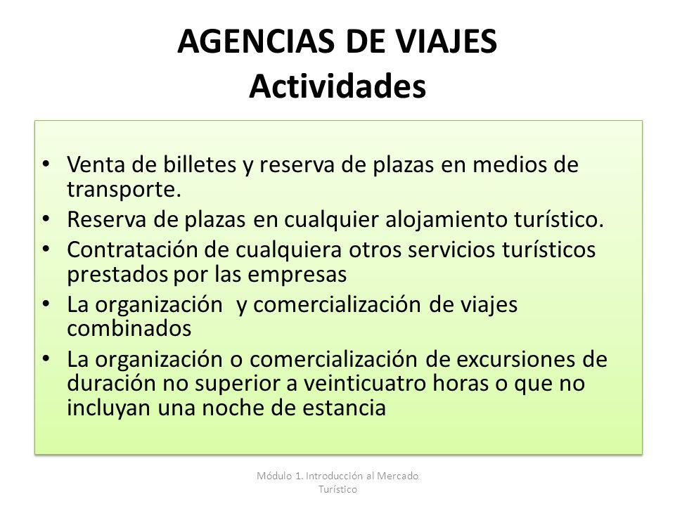 AGENCIAS DE VIAJES Actividades Venta de billetes y reserva de plazas en medios de transporte. Reserva de plazas en cualquier alojamiento turístico. Co