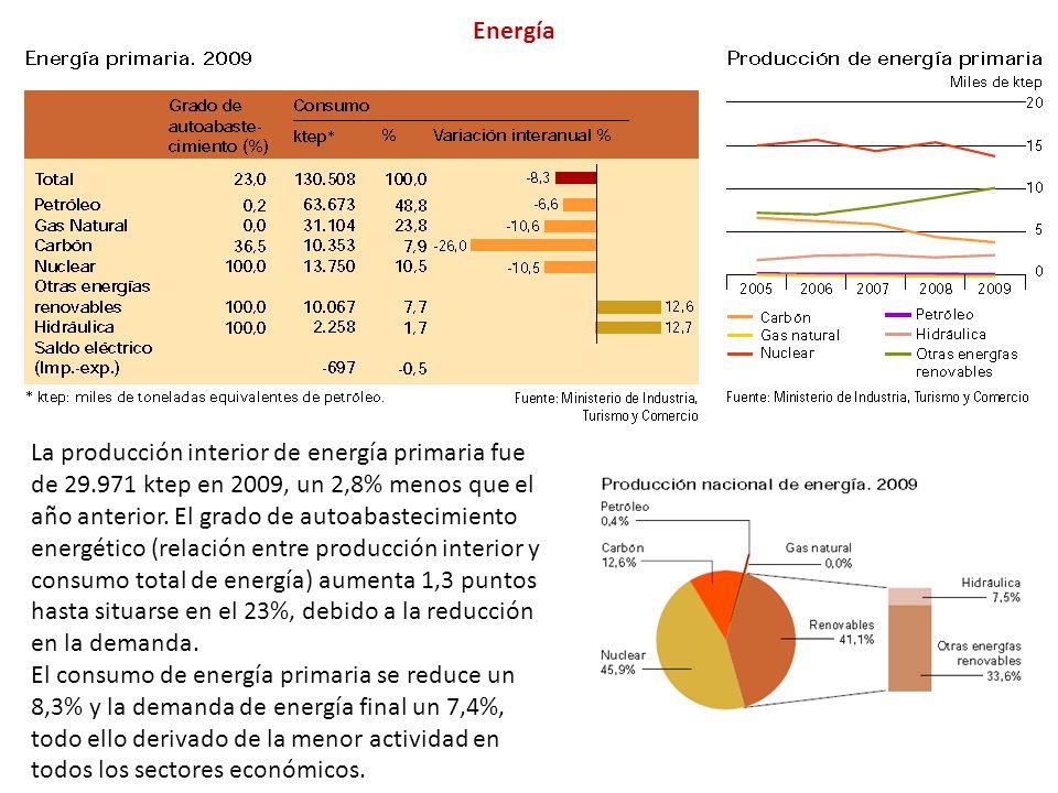 La producción interior de energía primaria fue de 29.971 ktep en 2009, un 2,8% menos que el año anterior.