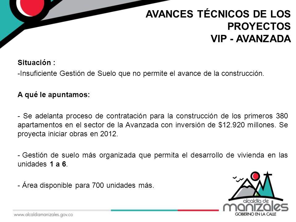 AVANCES TÉCNICOS DE LOS PROYECTOS VIP - AVANZADA Situación : -Insuficiente Gestión de Suelo que no permite el avance de la construcción.