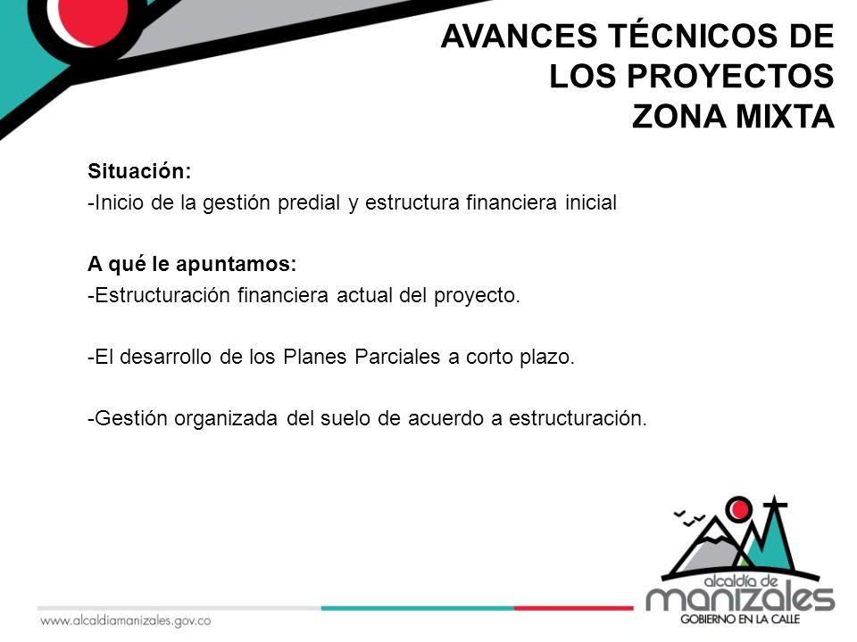 AVANCES TÉCNICOS DE LOS PROYECTOS ZONA MIXTA Situación: -Inicio de la gestión predial y estructura financiera inicial A qué le apuntamos: -Estructuración financiera actual del proyecto.