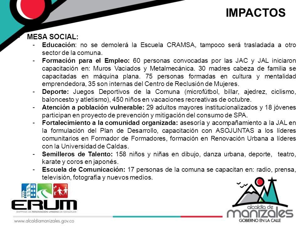 -MESA SOCIAL: -Educación: no se demolerá la Escuela CRAMSA, tampoco será trasladada a otro sector de la comuna.