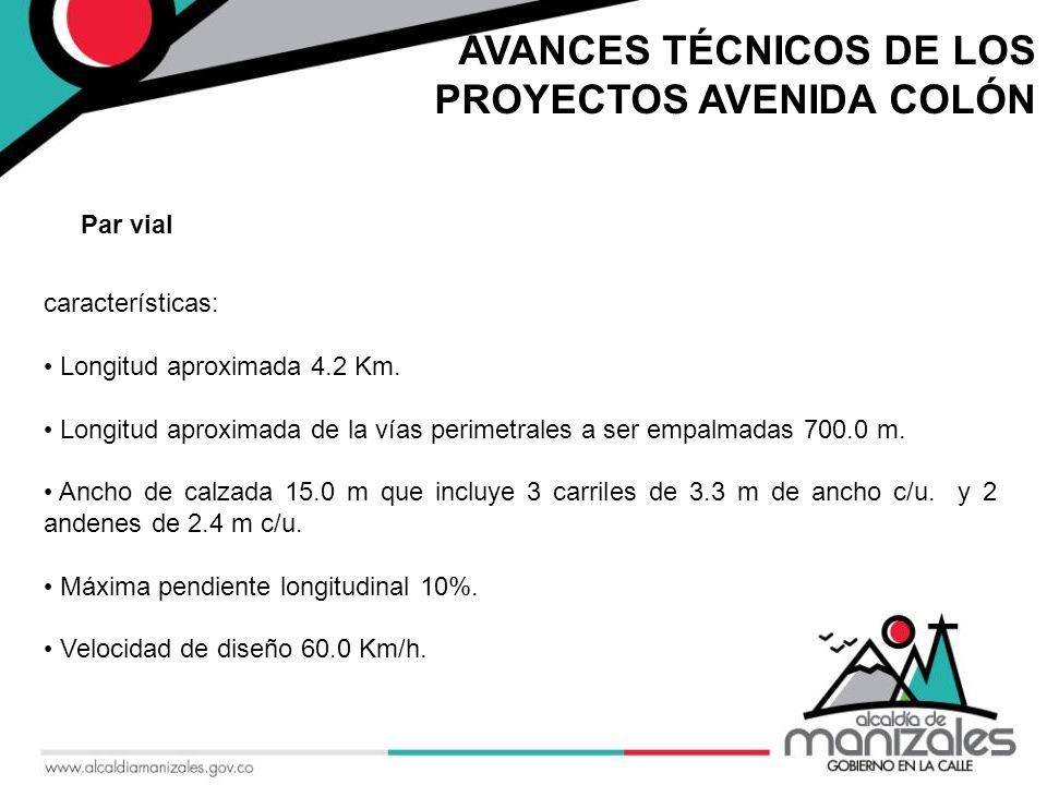 AVANCES TÉCNICOS DE LOS PROYECTOS AVENIDA COLÓN características: Longitud aproximada 4.2 Km.