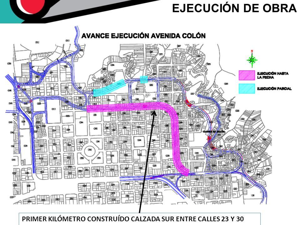 EJECUCIÓN DE OBRA PRIMER KILÓMETRO CONSTRUÍDO CALZADA SUR ENTRE CALLES 23 Y 30
