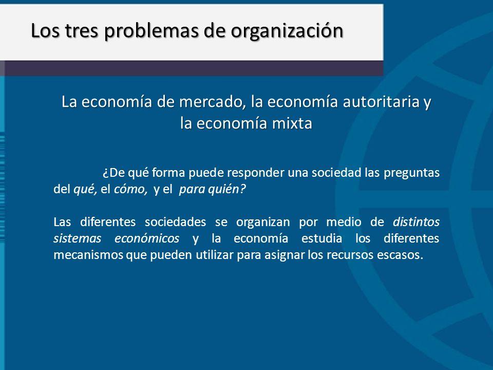 La economía de mercado, la economía autoritaria y la economía mixta ¿De qué forma puede responder una sociedad las preguntas del qué, el cómo, y el pa