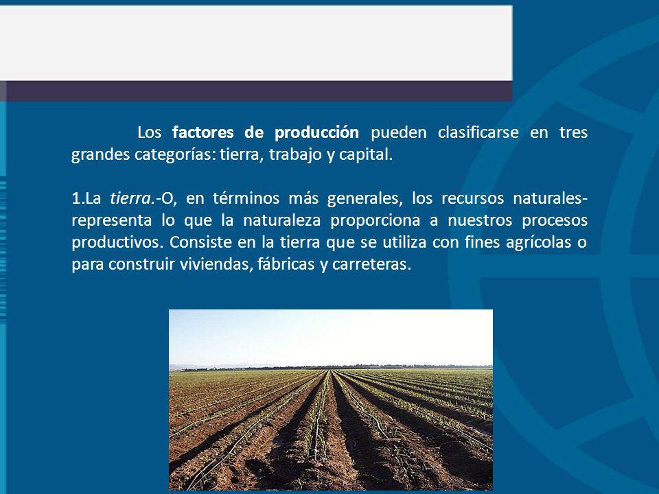 Los factores de producción pueden clasificarse en tres grandes categorías: tierra, trabajo y capital. 1.La tierra.-O, en términos más generales, los r