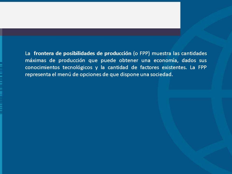 La frontera de posibilidades de producción (o FPP) muestra las cantidades máximas de producción que puede obtener una economía, dados sus conocimiento