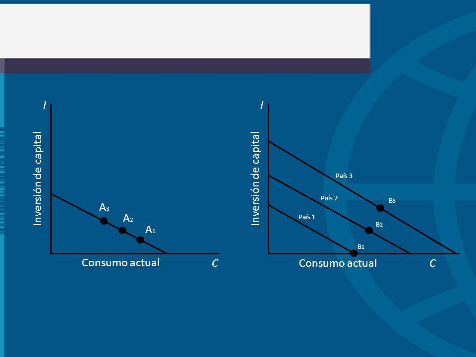 A1A1 l C Inversión de capital Consumo actual A3A3 A2A2 l C Inversión de capital Consumo actual B1B1 B3B3 B2B2 País 3 País 2 País 1