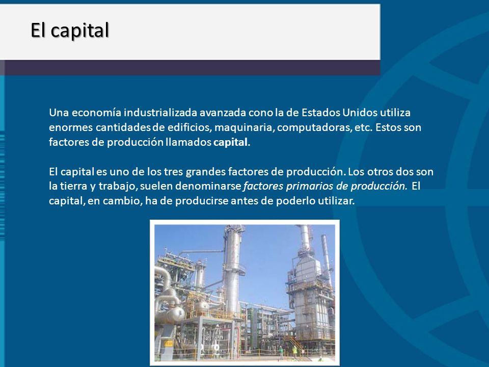 El capital Una economía industrializada avanzada cono la de Estados Unidos utiliza enormes cantidades de edificios, maquinaria, computadoras, etc. Est