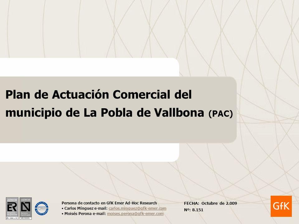 ER- 0484/1/00 A50/000021 Plan de Actuación Comercial del municipio de La Pobla de Vallbona (PAC) Persona de contacto en GfK Emer Ad-Hoc Research Carlo
