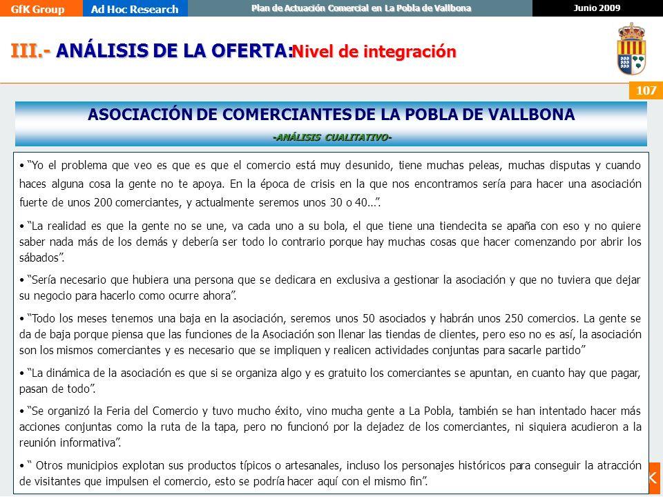 GfK GroupAd Hoc Research Junio 2009 Plan de Actuación Comercial en La Pobla de Vallbona 107 III.- ANÁLISIS DE LA OFERTA: III.- ANÁLISIS DE LA OFERTA: