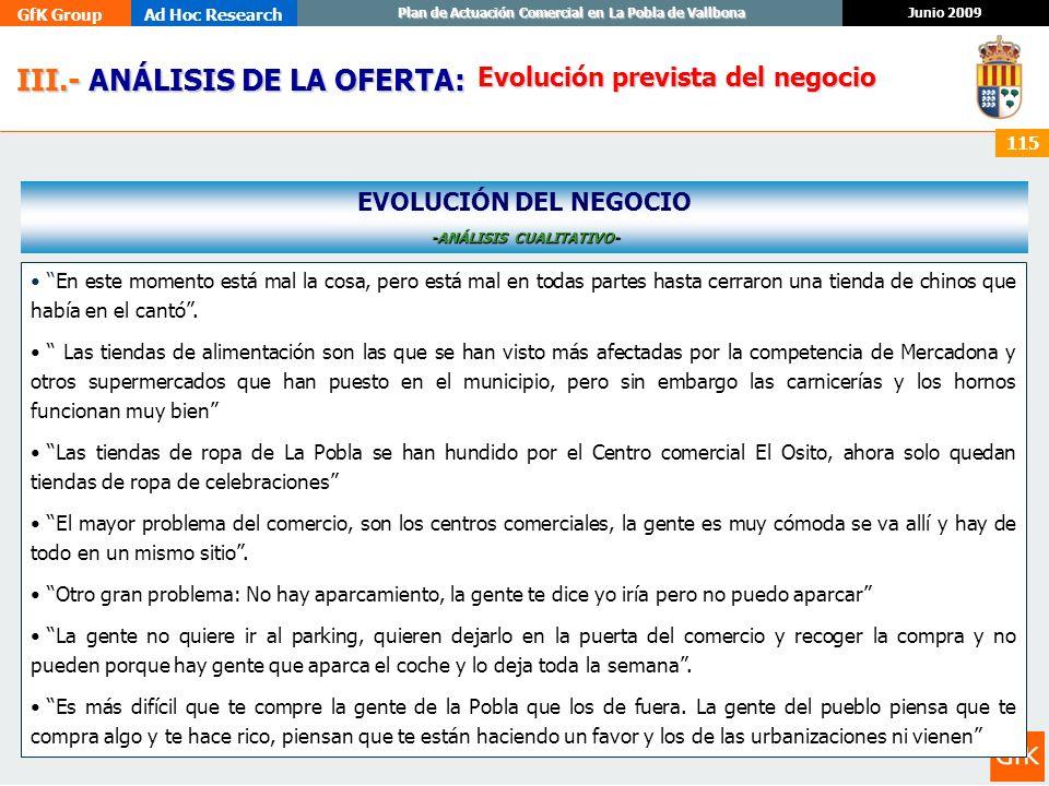 GfK GroupAd Hoc Research Junio 2009 Plan de Actuación Comercial en La Pobla de Vallbona 115 III.- ANÁLISIS DE LA OFERTA: III.- ANÁLISIS DE LA OFERTA: