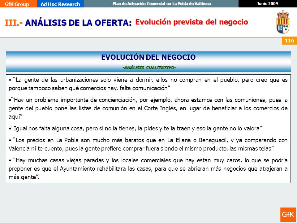 GfK GroupAd Hoc Research Junio 2009 Plan de Actuación Comercial en La Pobla de Vallbona 116 III.- ANÁLISIS DE LA OFERTA: III.- ANÁLISIS DE LA OFERTA: