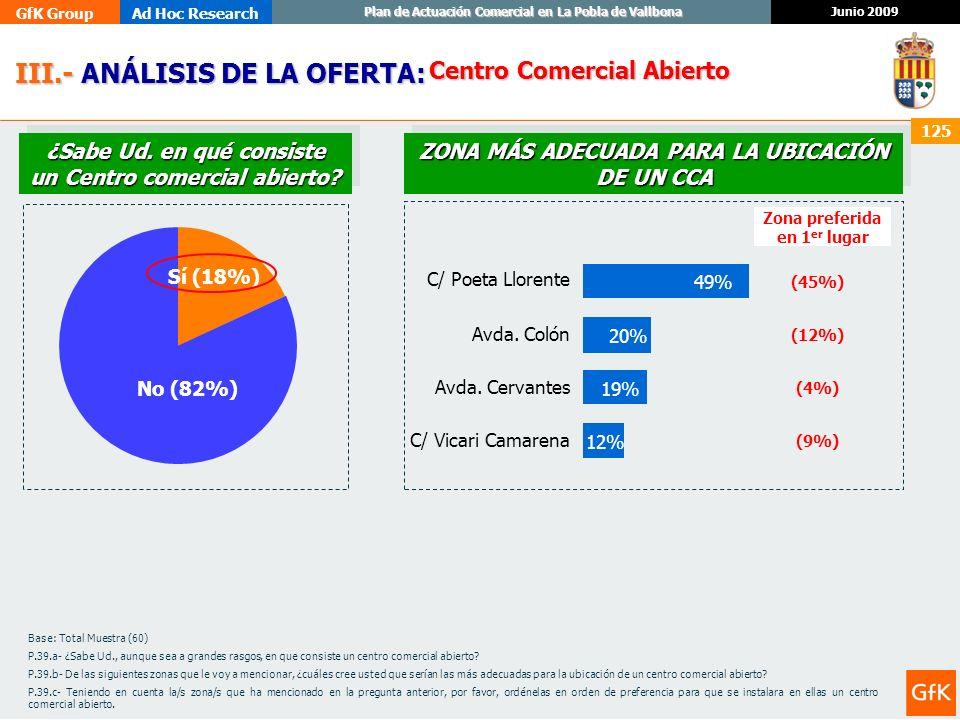 GfK GroupAd Hoc Research Junio 2009 Plan de Actuación Comercial en La Pobla de Vallbona 125 III.- ANÁLISIS DE LA OFERTA: III.- ANÁLISIS DE LA OFERTA: