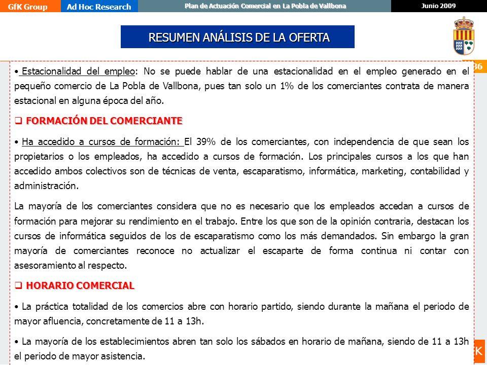 GfK GroupAd Hoc Research Junio 2009 Plan de Actuación Comercial en La Pobla de Vallbona 136 Estacionalidad del empleo: No se puede hablar de una estac