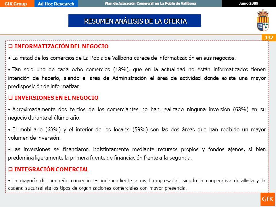 GfK GroupAd Hoc Research Junio 2009 Plan de Actuación Comercial en La Pobla de Vallbona 137 INFORMATIZACIÓN DEL NEGOCIO La mitad de los comercios de L