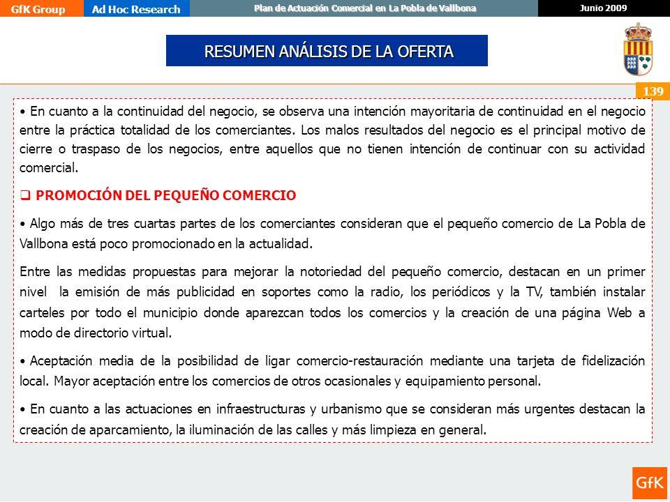 GfK GroupAd Hoc Research Junio 2009 Plan de Actuación Comercial en La Pobla de Vallbona 139 En cuanto a la continuidad del negocio, se observa una int