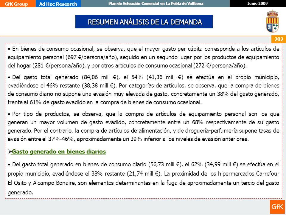 GfK GroupAd Hoc Research Junio 2009 Plan de Actuación Comercial en La Pobla de Vallbona 202 RESUMEN ANÁLISIS DE LA DEMANDA RESUMEN ANÁLISIS DE LA DEMA