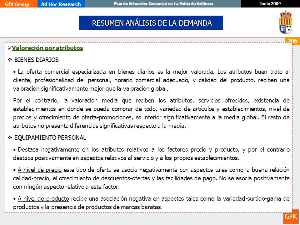 GfK GroupAd Hoc Research Junio 2009 Plan de Actuación Comercial en La Pobla de Vallbona 206 RESUMEN ANÁLISIS DE LA DEMANDA RESUMEN ANÁLISIS DE LA DEMA
