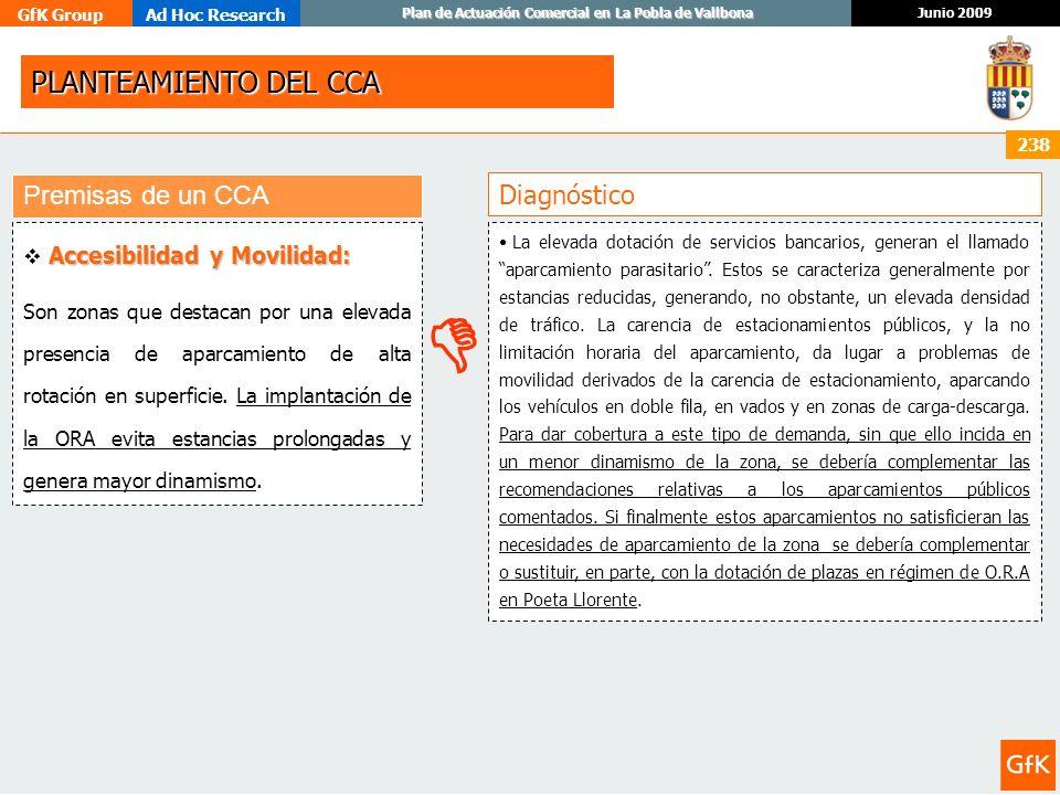 GfK GroupAd Hoc Research Junio 2009 Plan de Actuación Comercial en La Pobla de Vallbona 238 Diagnóstico Premisas de un CCA Accesibilidad y Movilidad: