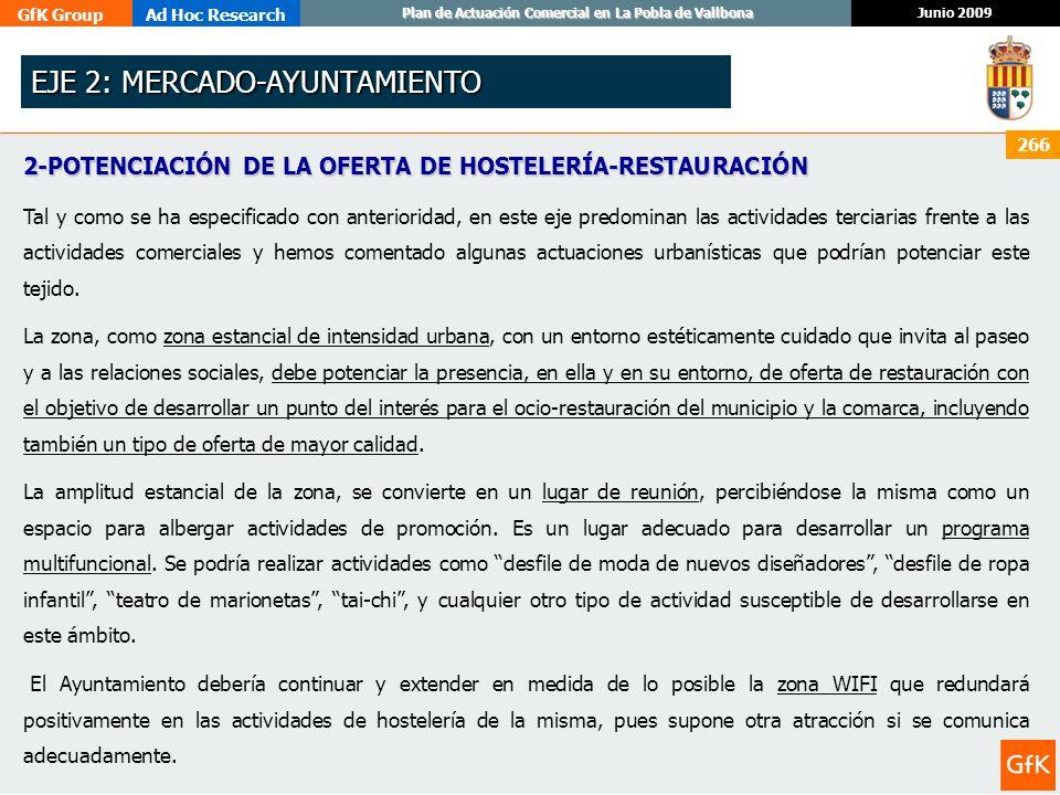 GfK GroupAd Hoc Research Junio 2009 Plan de Actuación Comercial en La Pobla de Vallbona 266 2-POTENCIACIÓN DE LA OFERTA DE HOSTELERÍA-RESTAURACIÓN Tal