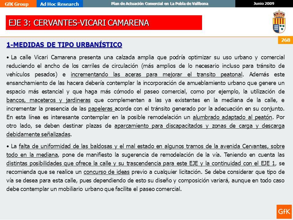 GfK GroupAd Hoc Research Junio 2009 Plan de Actuación Comercial en La Pobla de Vallbona 268 1-MEDIDAS DE TIPO URBANÍSTICO La calle Vicari Camarena pre